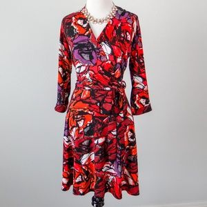 Just Taylor floral wrap dress with pockets